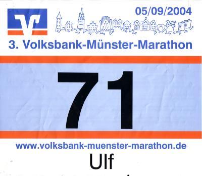 Startnummer 71 beim 3. Volksbank-Münster-Marathon