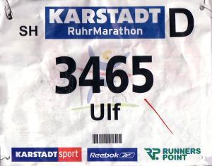 Startnummer Ruhrmarathon